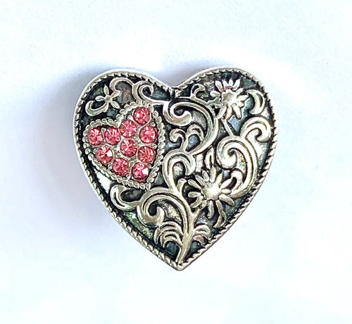 Pink Crystal and Silver Swirl Heart