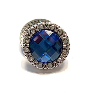 Round Blue and Clear Crystal Snap