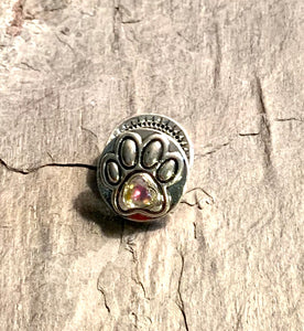 Dog Paw Snap with Clear Crystal