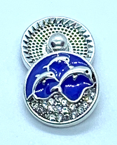 Blue Enamel, Silver Dolphins and Crystals Snap