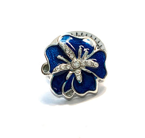 Blue Enamel and Crystal Flower Snap