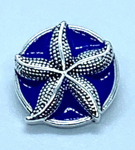Blue Enamel and Silver Starfish Snap