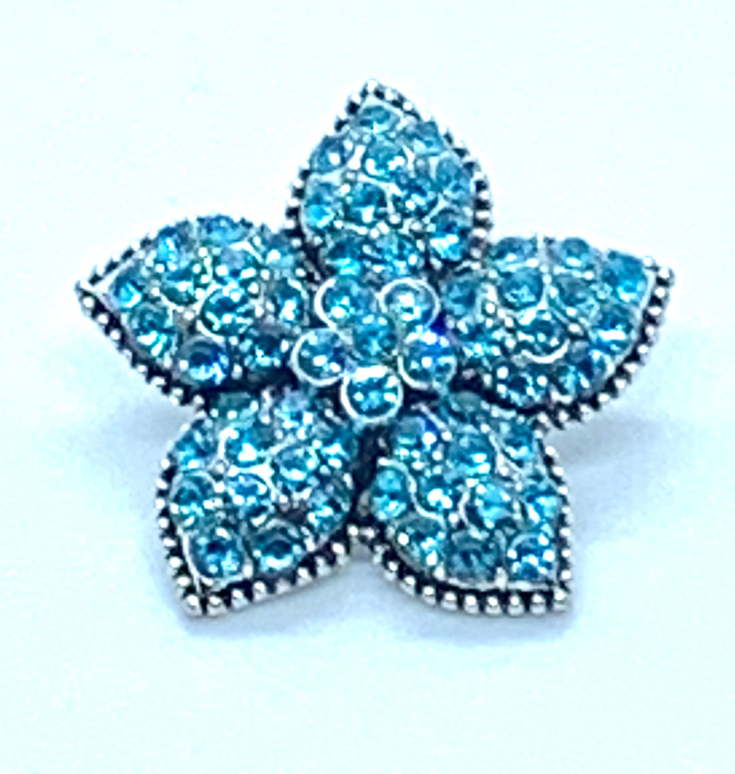 Turquoise Crystals Flower Snap