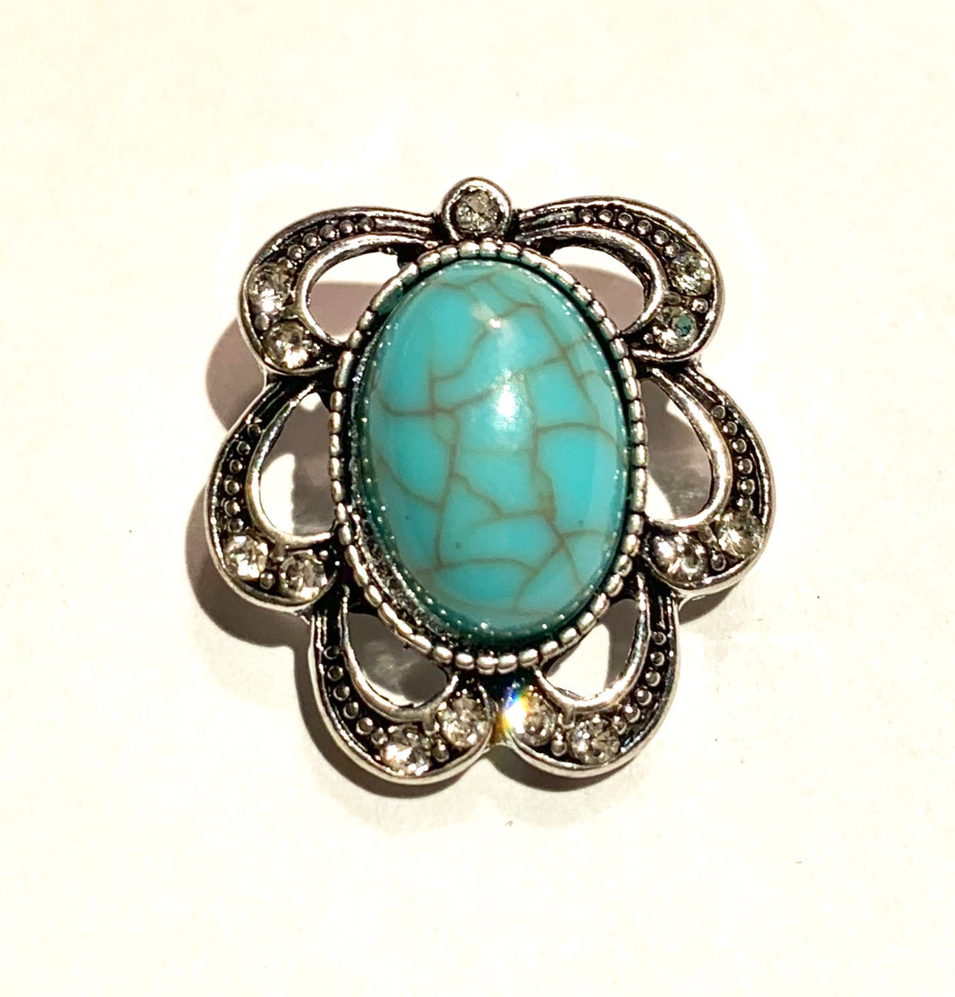 Pretty Faux Marcasite and Turquoise Snap