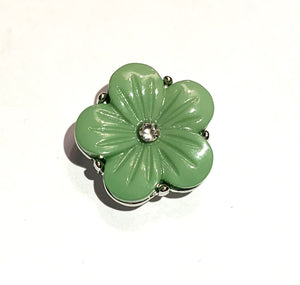 Green Flower with Clear Crystal Snap