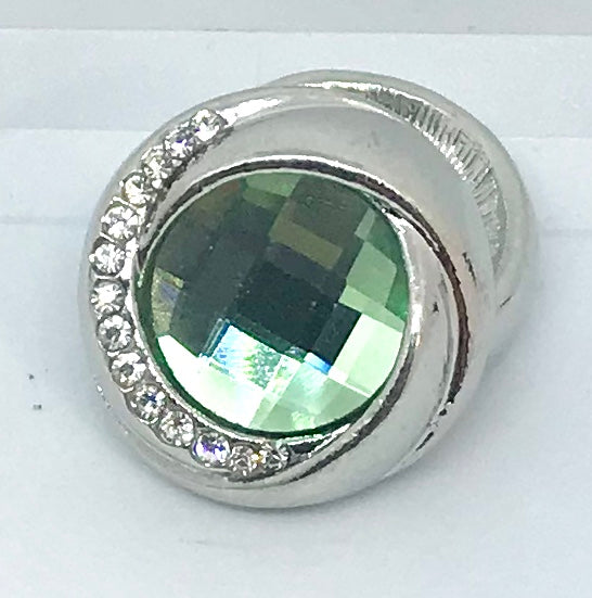 Round Silver, Peridot and Crystal Snap