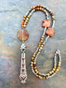 Pink Tiger Eye/Fossil Coral/Carnelian Spoon Handle Necklace