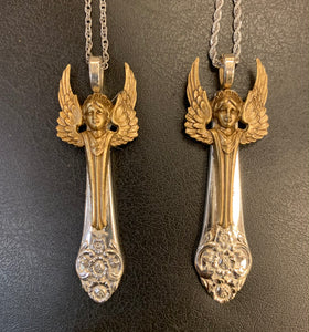 """Plantation"" Vintage Spoon Handle Angel Necklace with Brass Angel"