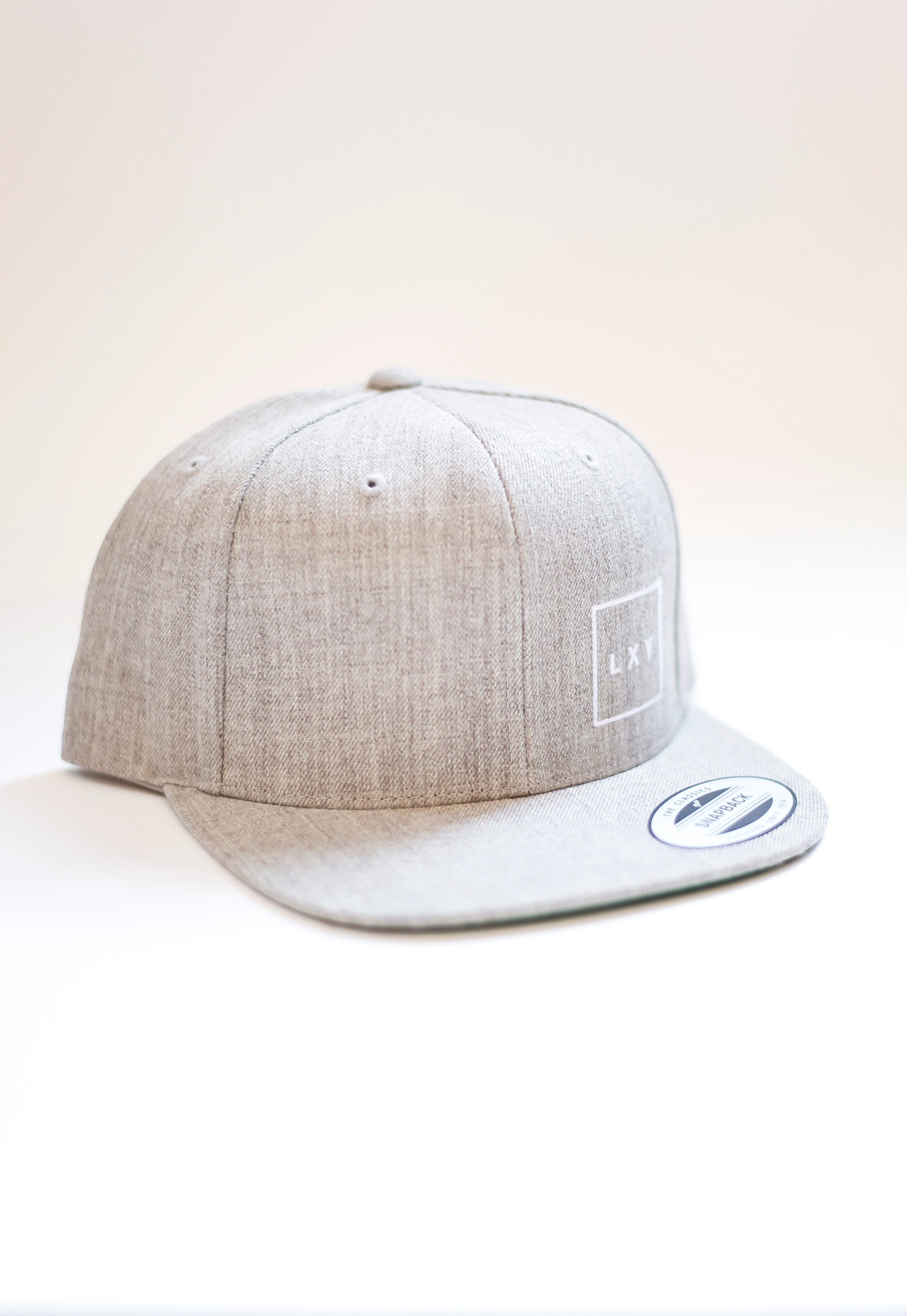 square cap snapback heather grey
