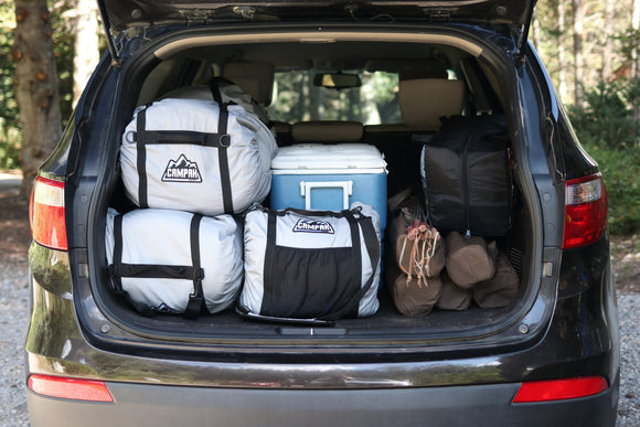 CAMPAK, camping, packing for camping, travel bag, compression bag, road trip