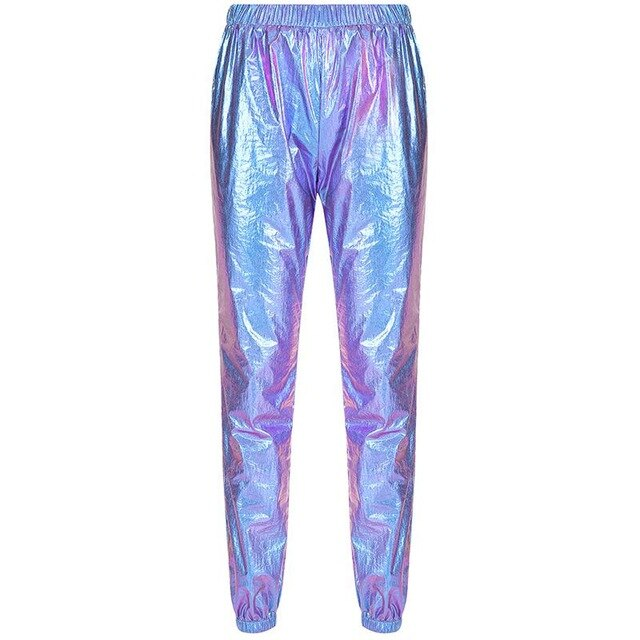 Holographic Pants Slacks For Women Joggers For Women With Side Pockets Loose Reflective Pants New Hip Hop 2019 New Design AL447
