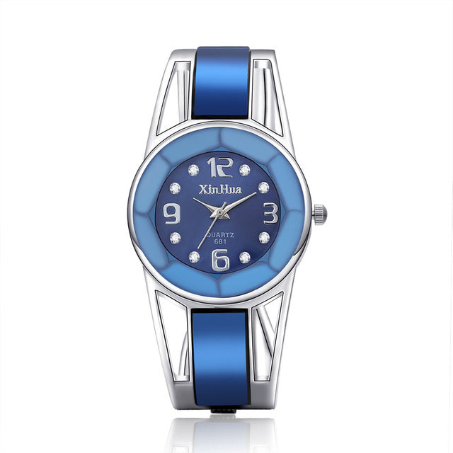 2017 Hot Sell Xinhua Bracelet Watch Women Blue Luxury Brand Stainless Steel Dial Quartz Wristwatches Ladies Fashion Watches