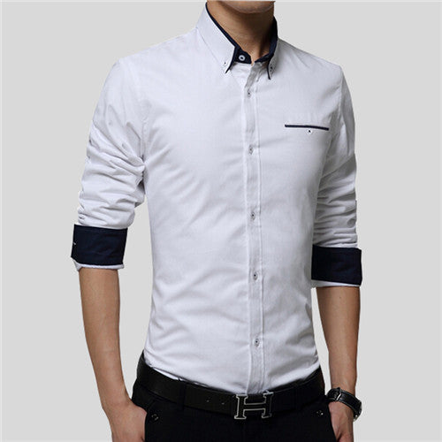 VISADA JAUNA 2017 New Men Shirts Business Long Sleeve Turn-down Collar 100% Cotton Male Shirt Slim Fit Popular Designs N837