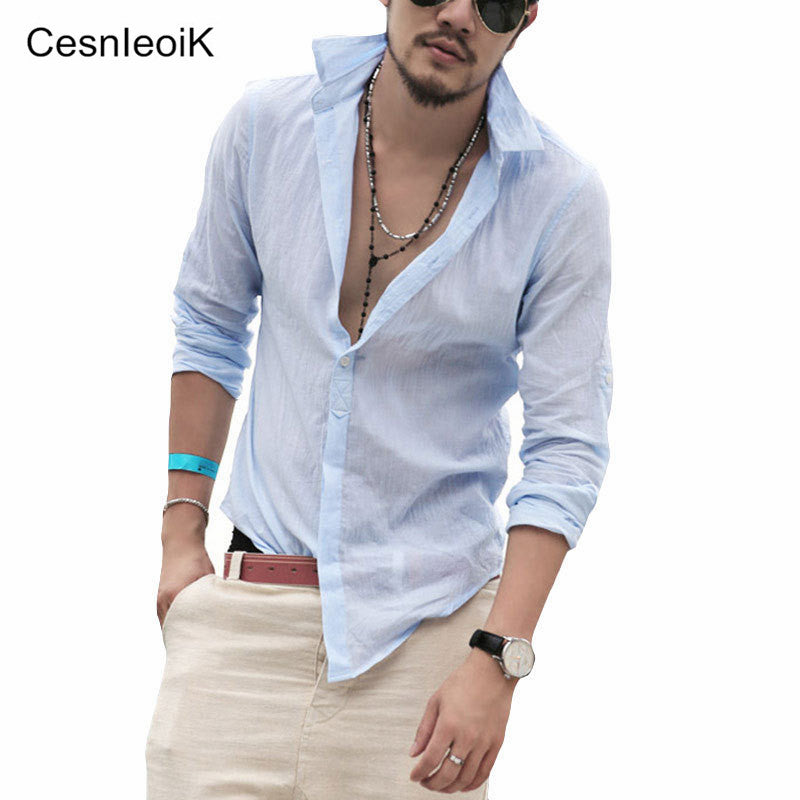 Plus Size Shirts Cotton Linen Men Shirt Long Sleeve Summer Style Hawaiian Shirts Sexy Slim Fit Men Clothes New Arrival C01