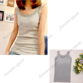 Women Sexy Rhinestone Lace Stunning Based Sleeveless Vest Tank Top Tee T-Shirt Black White Gray Camisole Cami Shirt Slim