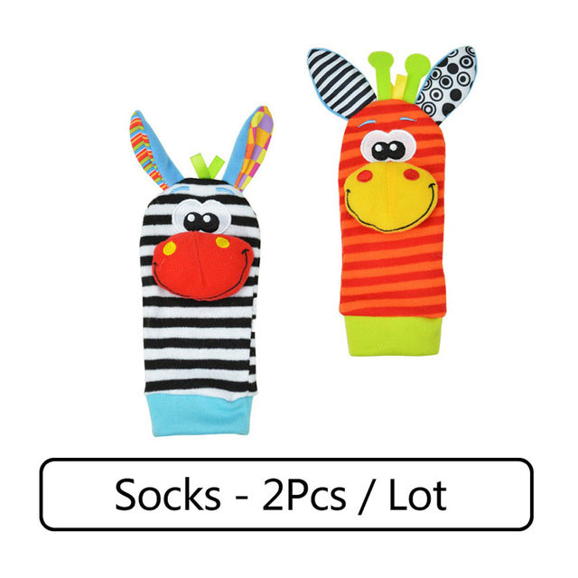 Cartoon Baby Toys 0-12 Months Soft Animal Baby Rattles Children Infant Newborn Plush Sock Baby Toy Wrist Strap Baby Foot Socks