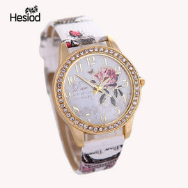 2017 New Fashion Chinese Style Peony Pattern Watch Gilt Digital Quartz Casual Leather Clock Women Dress Cartoon Wristwatch Hot