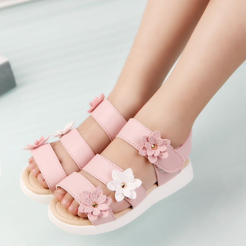 COZULMA Summer Style Children Sandals Girls Princess Beautiful Flower Shoes Kids Flat Sandals Baby Girls Roman Shoes