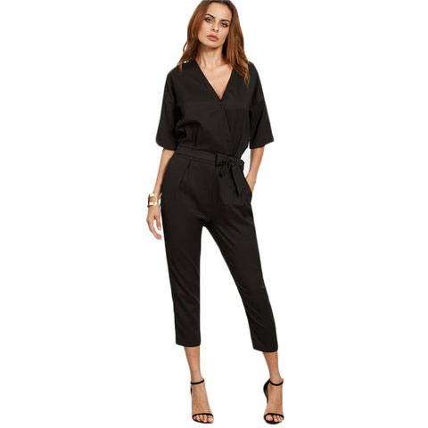 Sheinside Solid Surplice Front Self Tie Jumpsuits for Women 2017 Work Wear Elegant Ladies Half Sleeve Twin Pockets Jumpsuit