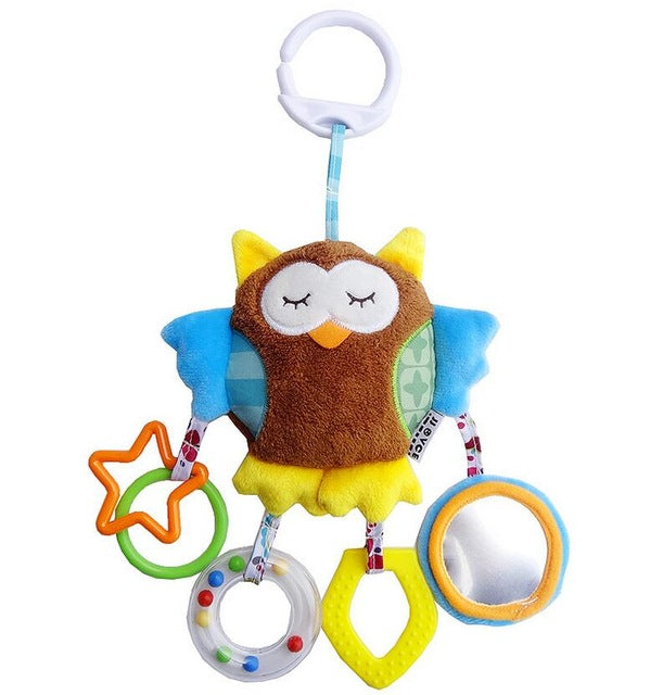 JJOVCE Newborn Baby Boy Girl Cute Cotton Rattles Infant Animal owl bear monkey Hand Bell Kids Plush Toy Development Gifts 40%off