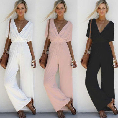 2017 Women V Neck Loose Playsuit Party Ladies Romper Short Sleeve Long Jumpsuit S-XL