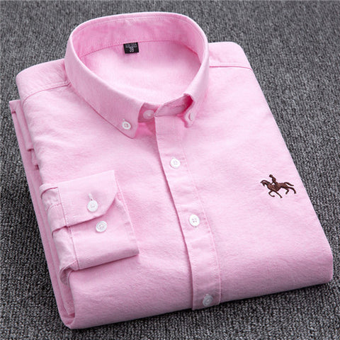 2017 Autumn New Casual OXFORD FABRIC 100% COTTON excellent comfortable slim fit button collar  business men casual shirts tops