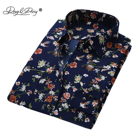 DAVYDAISY Men Shirt Long Sleeve Fashion Floral Printing Male Shirts Brand Clothing Casual shirt Man camisa masculina DS004