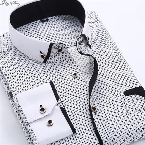 DAVYDAISY High Quality Men Shirt Spring Long Sleeve Turn-Down Collar Dress Polka Dot Print Casual Shirt Men Camisas DS-026