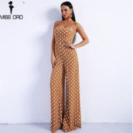 Missord 2018 Sexy Spring And Summer Off Shoulder Dot Rompers Harness Backless Overalls Lace Up Jumpsuit FT8833-1