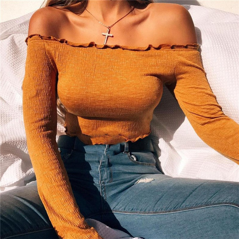 Off Shoulder T Shirt Women Soild Cropped Top Fungus Long Sleeve Shirt Sexy Slim Shirt Cotton T-shirt