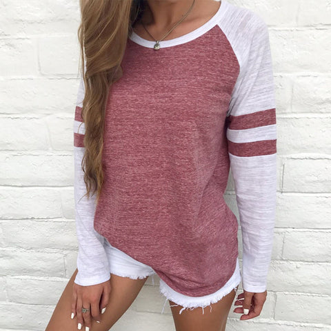 2017 new arrivals red white stripe patchwork casual women tops tees long sleeve vintage simple style o-neck t-shirt ladies solid