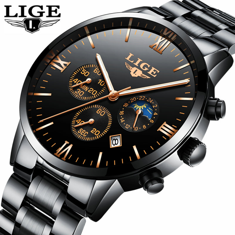 LIGE Watch Men Fashion Sports Quartz Clock Mens Watches Top Brand Luxury Full Steel Business Waterproof Watch Relogio Masculino