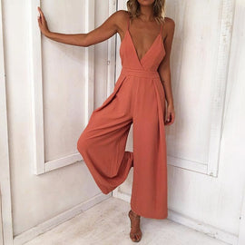 Strap Backless Long Jumpsuits Women Solid Back Bow Flare Leg Playsuit 2018 Summer Beach Loose Jumpsuit