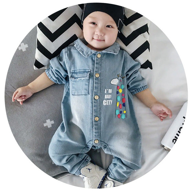 2017 Soft Denim Baby Romper Graffiti  Infant Clothes Newborn Jumpsuit Babies Boy Girls Costume Cowboy Fashion Jeans Children