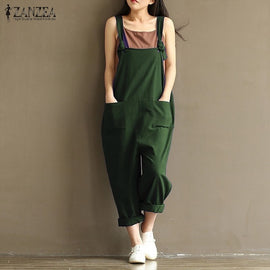 ZANZEA 2018 Casual Rompers Womens Jumpsuits Sleeveless Backless Casual Loose Solid Overalls Retro Strapless Playsuits Oversized