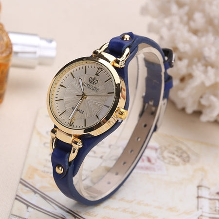 Rinnady Fashion Casual Quartz Watches For Women Thin Leather Strap Wrist Watches Ladies Gold Creative Wristwatch bayan kol saati