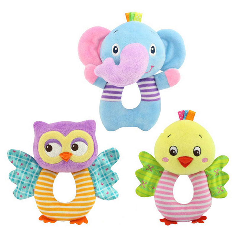 Newborn Baby Toys 0-12 Months Cartoon Animal Owl/Elephant Baby Boy Girl Rattles Hand Bell Infant Toddler Plush Toys jouet enfant