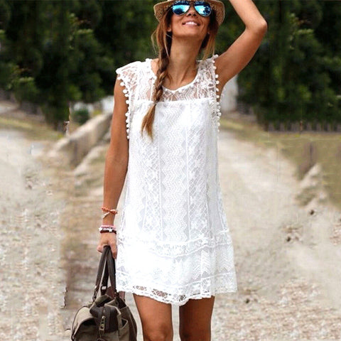 Summer Dress Sexy Women Tunic Casual Sleeveless Beach Short Dress Tassel Solid White Mini Lace Dress Plus Size