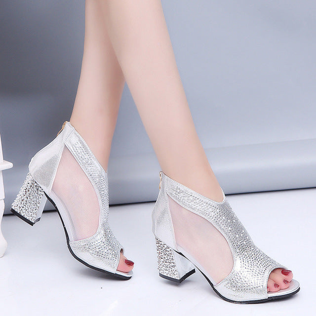 Fashion 2018 Women Sandals Bling 7cm High Heels Diamond Summer Square Heel Women Shoes Wedding Shoes Leather Sandalia Mujer