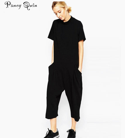 2018 summer black rompers womens jumpsuit Elegant side pocket loose-fitting combinaison femme Romper overalls jumpsuit for women