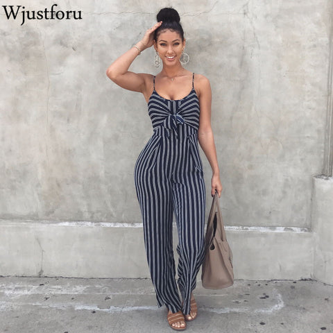 Wjustforu Sexy Bow Strap Striped Jumpsuit Wide Legs Summer Sleeveless Backless Off Shoulder High Split Rompers Womens Jumpsuits