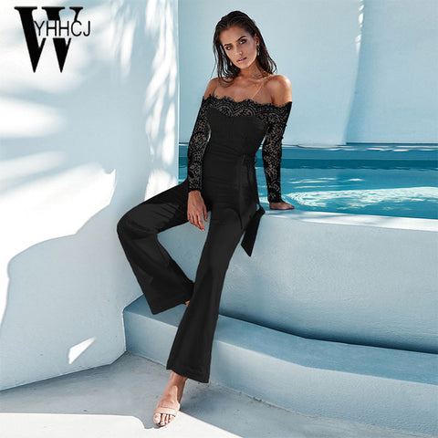 WYHHCJ 2018 women summer jumpsuit sexy off shoulder long sleeve women bodysuit lace patchwork bodycon rompers womens jumpsuit