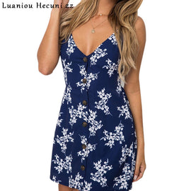 Summer Dress 2018 Sexy Women Floral Print Spaghetti Strap Backless A Line Boho Dress Beach Bohemian Casual Short Dresses L109