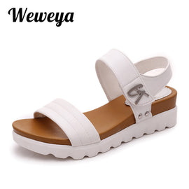 Weweya 2018 Summer Gladiator Sandals Women Aged Leather Flat Fashion Women Shoes Casual Occasions Comfortable The Female Sandals