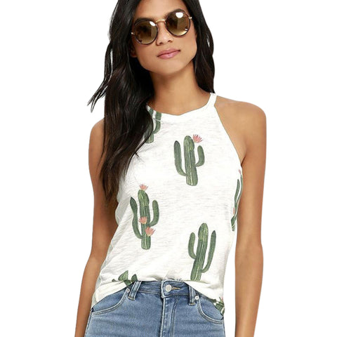 Fashion Womens Ladies Cactus Printed Sleeveless Halter Camis Tank Tops Loose Tee Camisole Female Femme Vest Sexy Summer Clothes