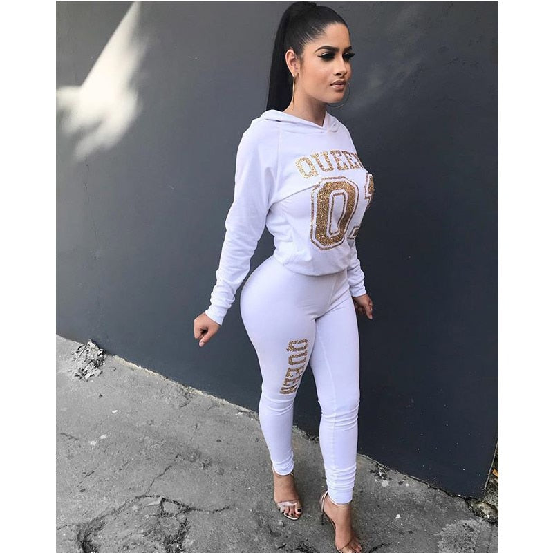 Women's Letter Printed 2 Pieces Outfits T-Shirt Tops and Bodycon Long Pants Set Sweatshirt Full Sleeve Long Jumpsuit s-xl