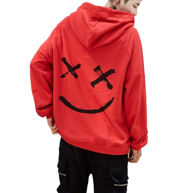Harajuku Men Hoodies 2018 Fashion Smile Printed Hooded Sweatshirt Hip Hop Streetwear Male Loose Hoodie Pullover Clothes Moletom