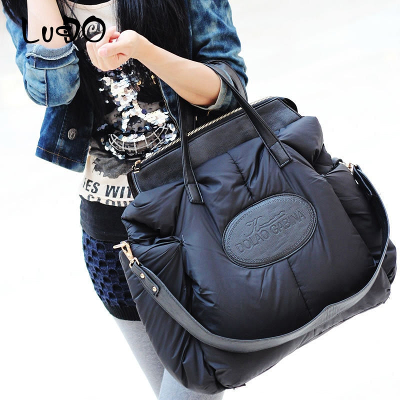 LUCDO Winter Women Handbags Fashion Space Cotton Material Large Package Down Jacket Bag Ladies Warm Tote Bag Sac A Main Bolsa