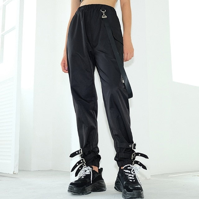 Vangull High Waist Pants Women Jogger Pants 2019 New Spring Fashion Female Side Ribbon Cargo Pants Buckle Leg Casual Sweatpants