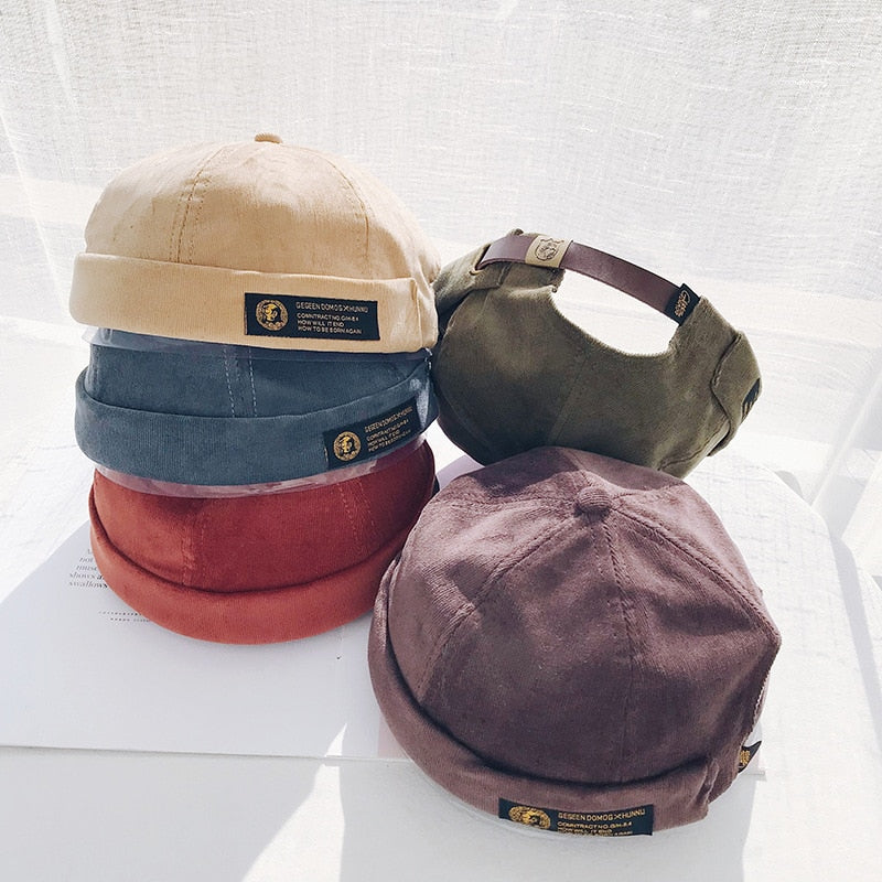 Retro Corduroy Original Docker Sailor Biker Cap Brand Brimless Skullcap Men And Trend Hip-hop Hat Autumn And Keep Warm Hat